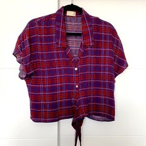 Plaid cropped blouse